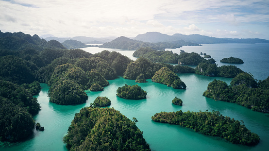 High angle shot of the beautiful islands of Indonesia