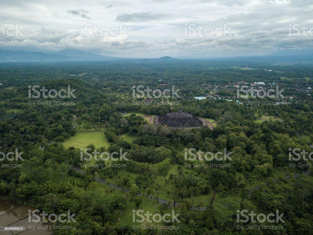 Indonesia, Java, Borobudur Temple, aerial view stock photo