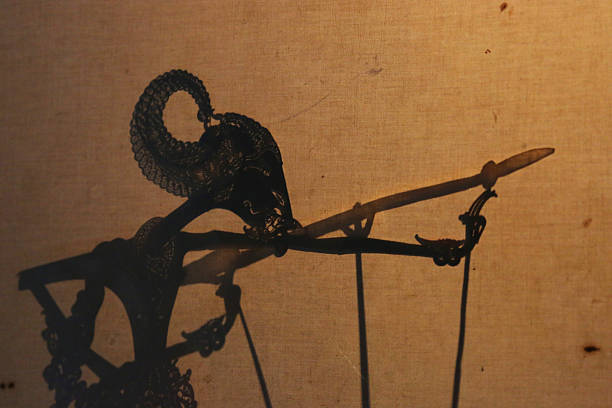 indonesia: javanese shadow puppet performance - wayang kulit stock photos and pictures