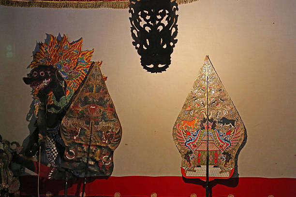 indonesia: javanese shadow puppet theatre - wayang kulit stock photos and pictures