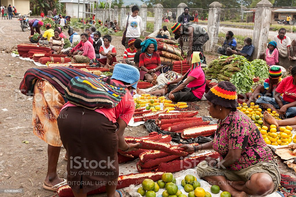 Indonesia. Local women are at the main market of Wamena. stock photo