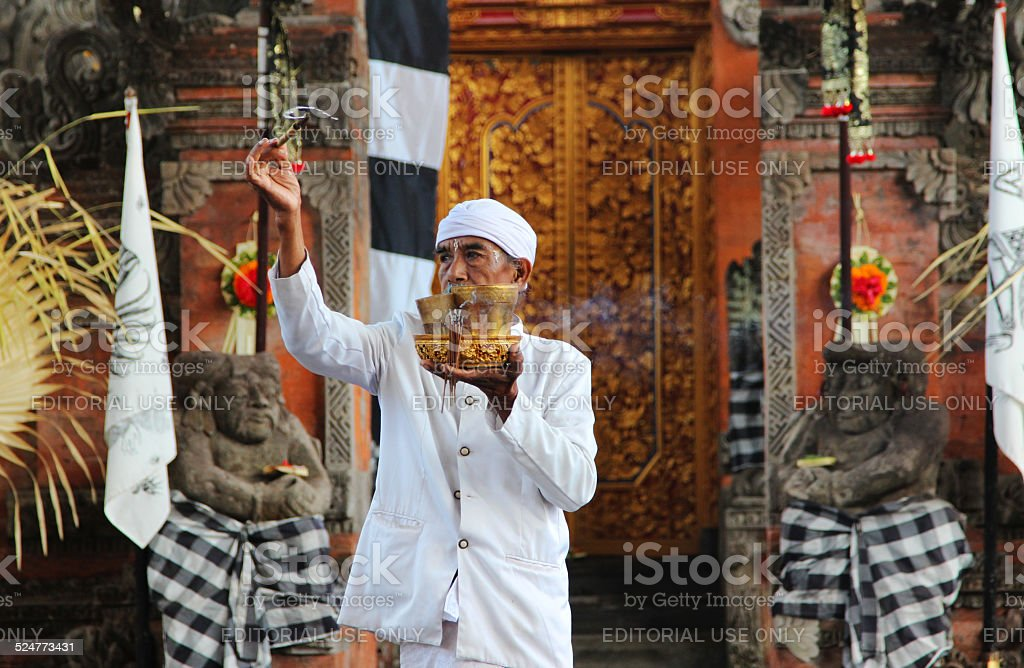 Indonesia Priest Blessing The Barong Ceremony Site Stock Photo