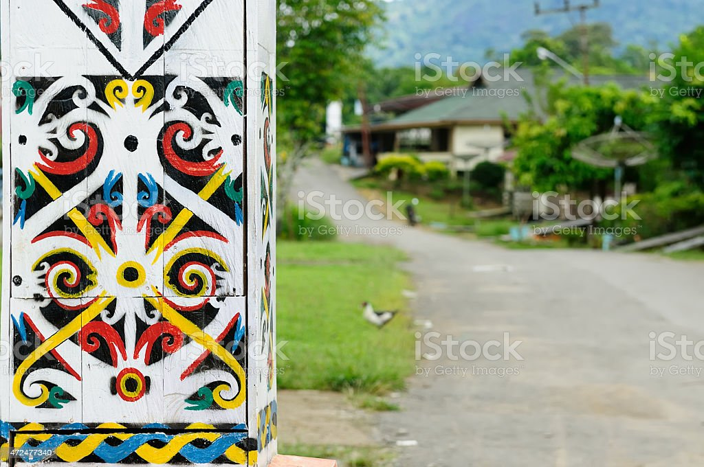 Indonesia - Traditional Dayak tribal culture stock photo