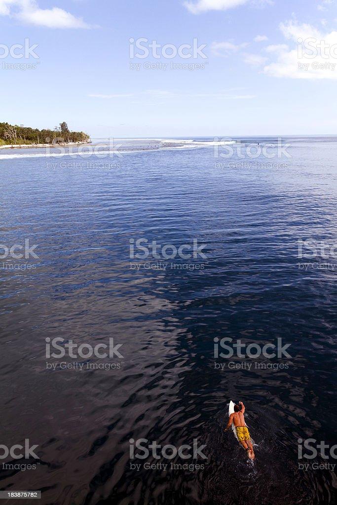 Indonesia, West Sumatra Province, Mentawai Islands. Surfer, Indian Ocean. stock photo