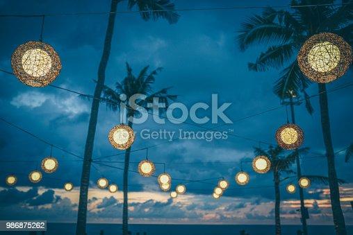 Indonesian Bali Beach Lamps Lighting The Sunset