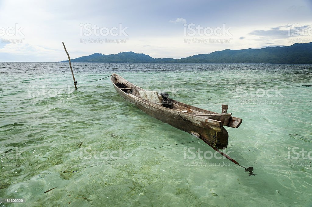 Indonesian Dugout Canoe stock photo