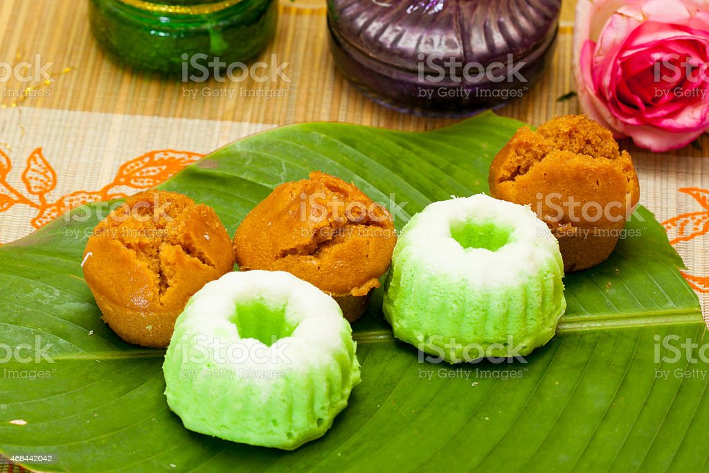 Indonesian Food Putu Putri Ayu Pandan Suji and Mangkok Cake stock photo