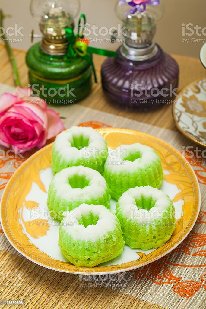 Indonesian Food Putu Putri Ayu Pandan Suji stock photo