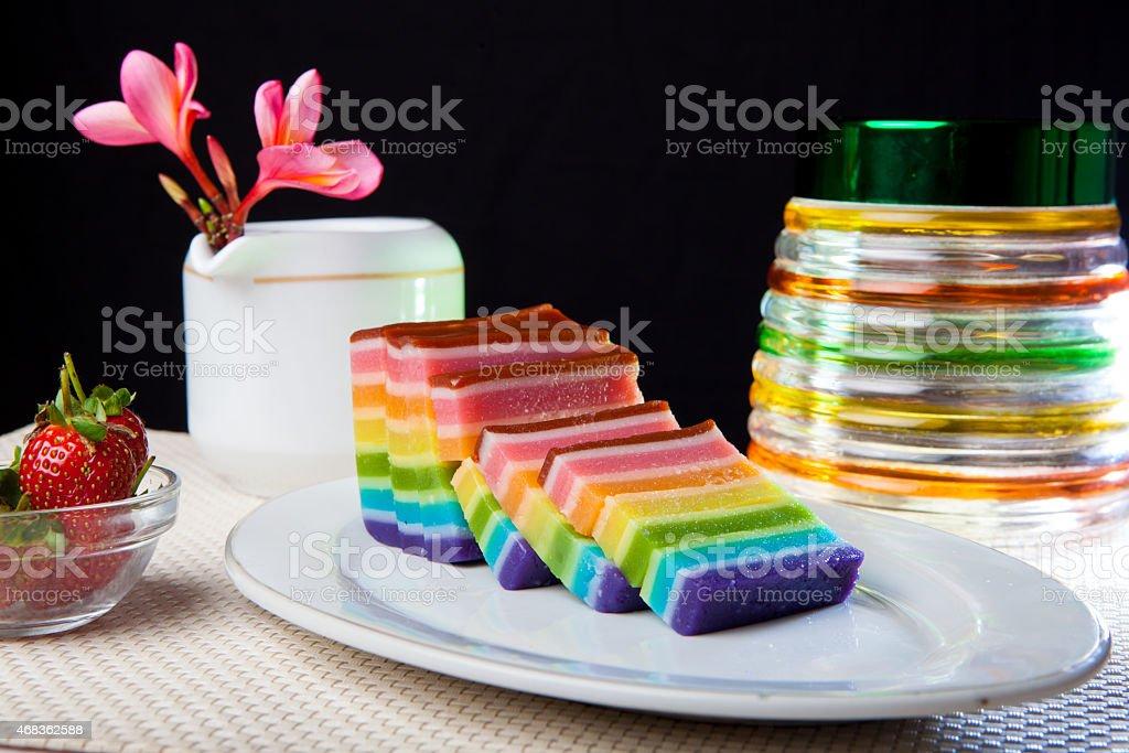 Indonesian Food Rainbow Layer (Lapis Rainbow) royalty-free stock photo