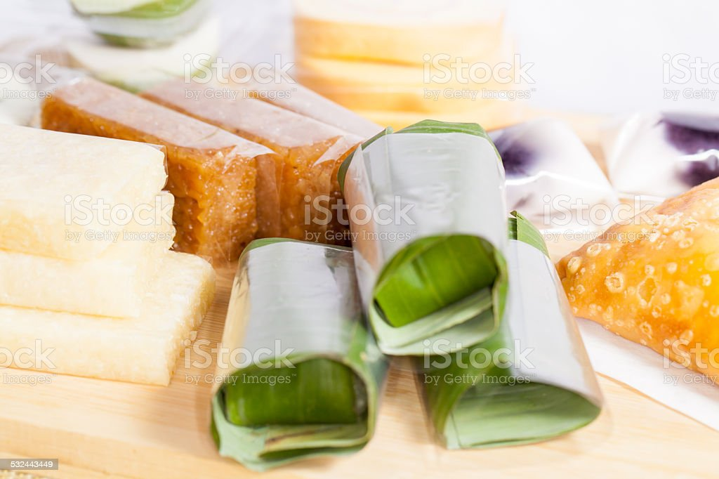 Indonesian Food Jajanan pasar traditional stock photo