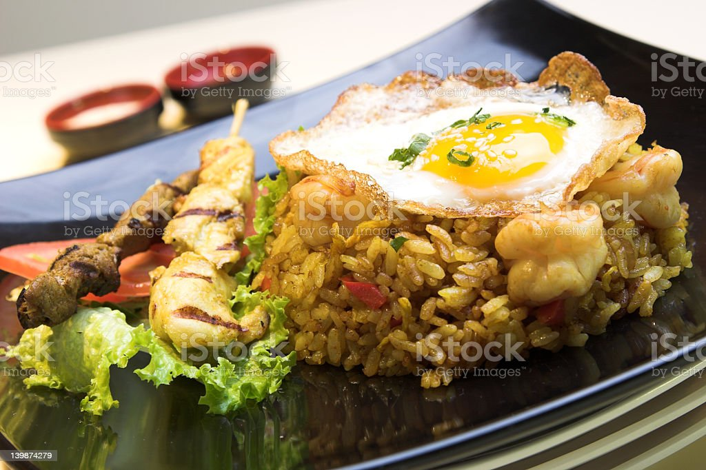 Indonesian fried rice and eggs royalty-free stock photo