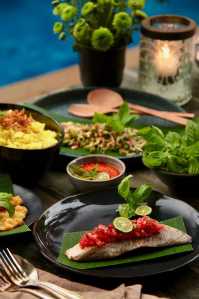 Indonesian Meal in Contemporary and Upscale Al Fresco Dining stock photo