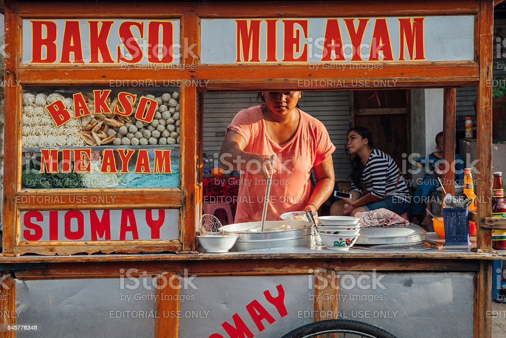 Indonesian meatball soup street stall, Bali royalty-free stock photo