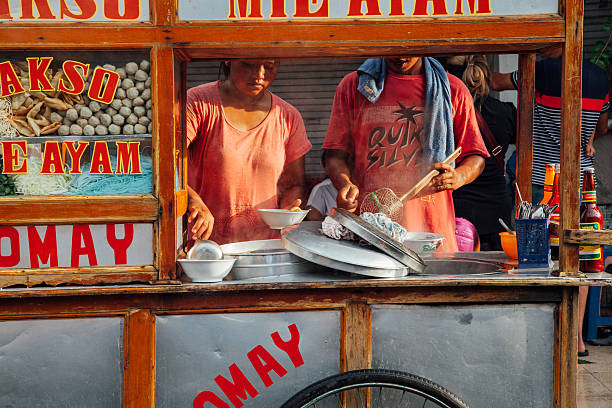 Indonesian meatball soup street stall, Bali stock photo