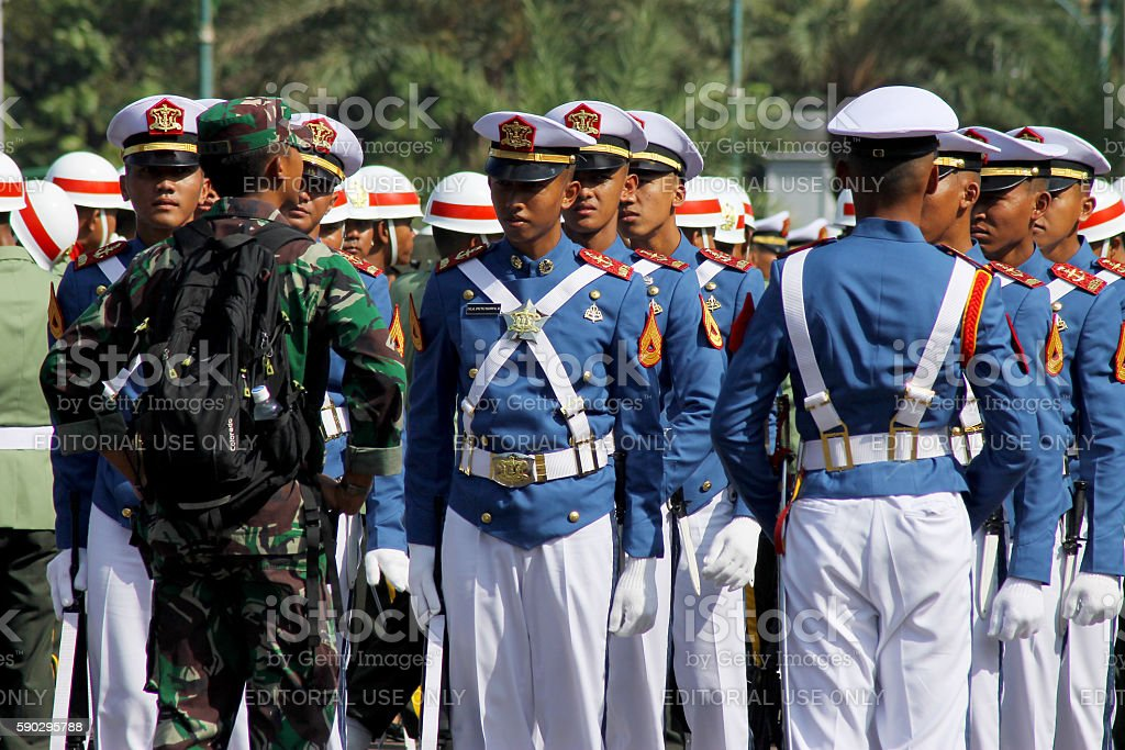 Indonesian Military Army Cadets Briefing royaltyfri bildbanksbilder