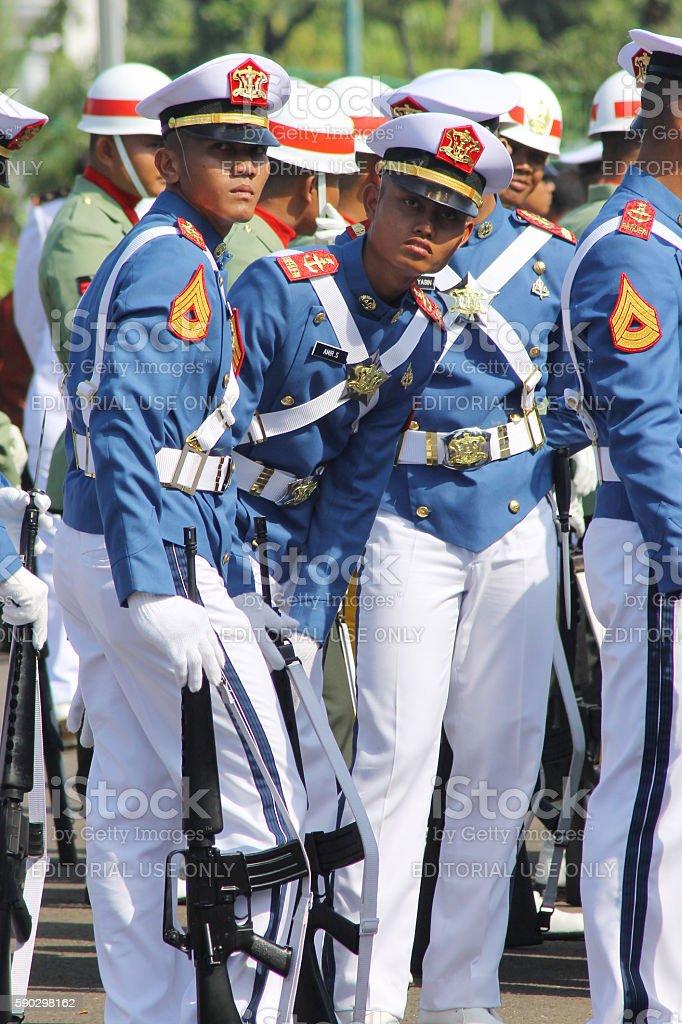 Indonesian Military Army Cadets in Uniform royaltyfri bildbanksbilder