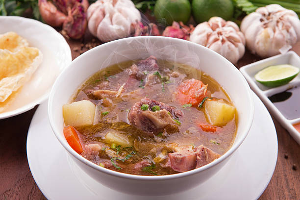 Indonesian Oxtail Soup or Sop Buntut stock photo