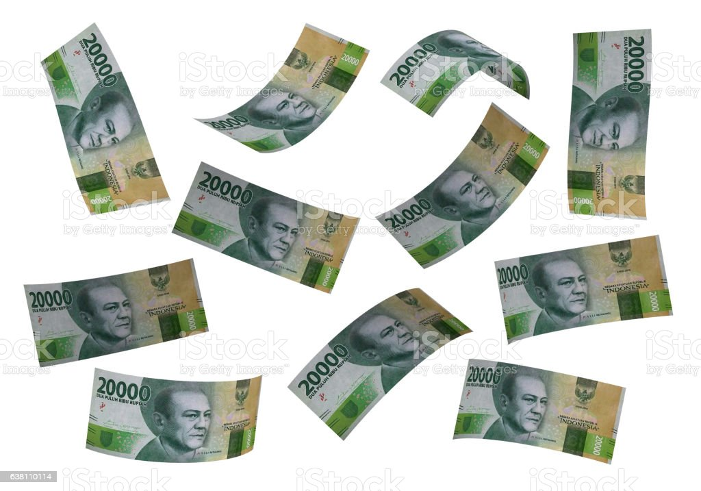 3D Indonesian rupiah money fly white background stock photo