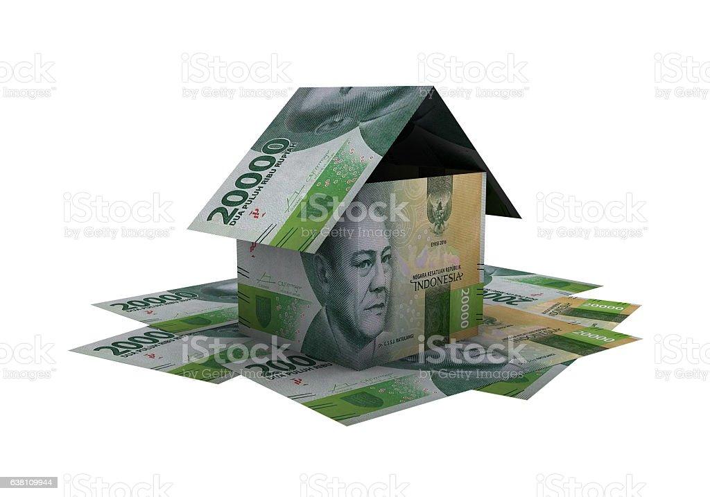 3D indonesian rupiah money property model stock photo