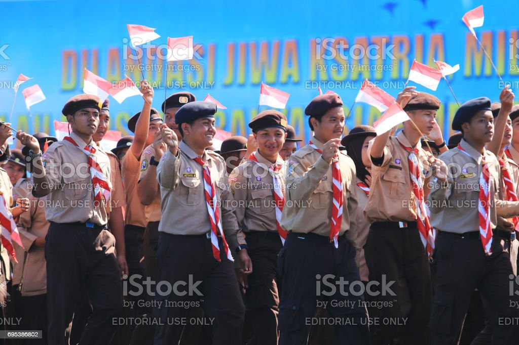 Indonesian Scouts stock photo
