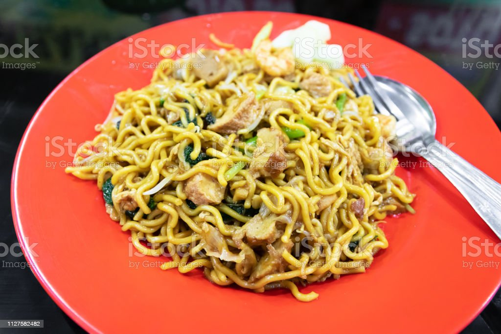Indonesian stir-fried noodles (Bakmi Goreng) stock photo