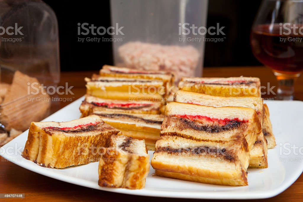 Indonesian Traditional food Roti Bakar or Toasted Bread stock photo