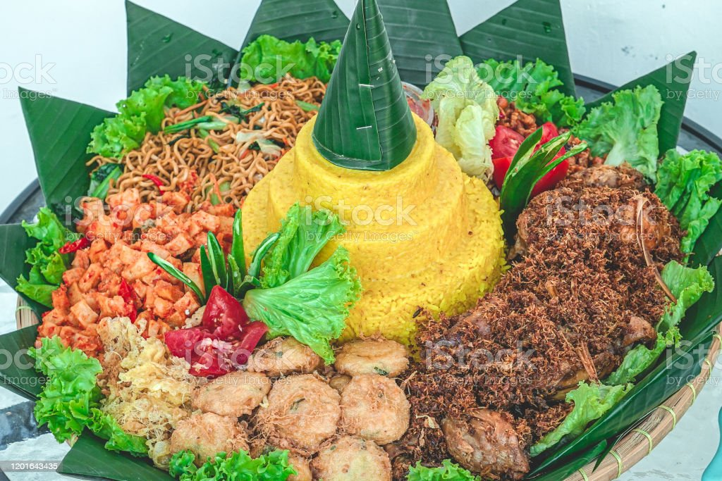 Indonesian Traditional Food Yellow Rice Tumpeng Side Dish Stock Photo Download Image Now Istock