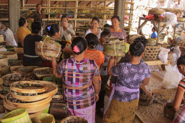 Indonesian women dressed in festive batik in Bali stock photo