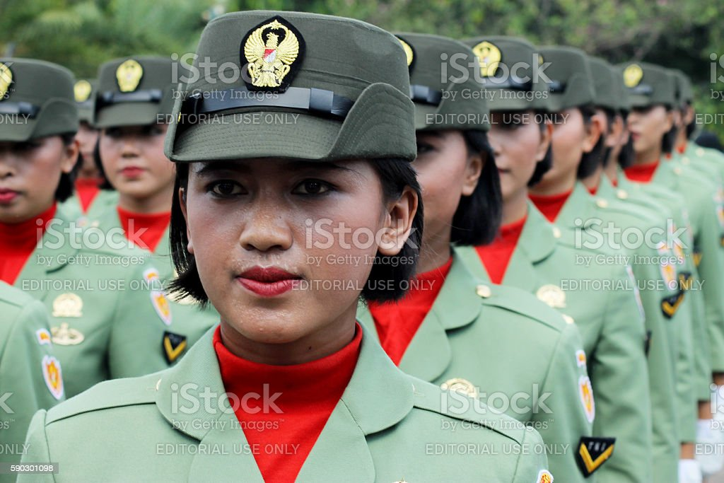 Indonesian Women's Military Army Corps Marching stock photo