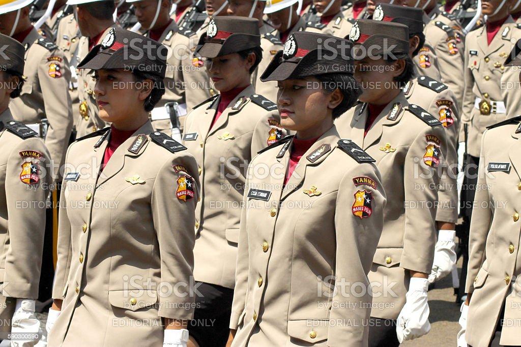Indonesian Women's Police Corps Marching royaltyfri bildbanksbilder