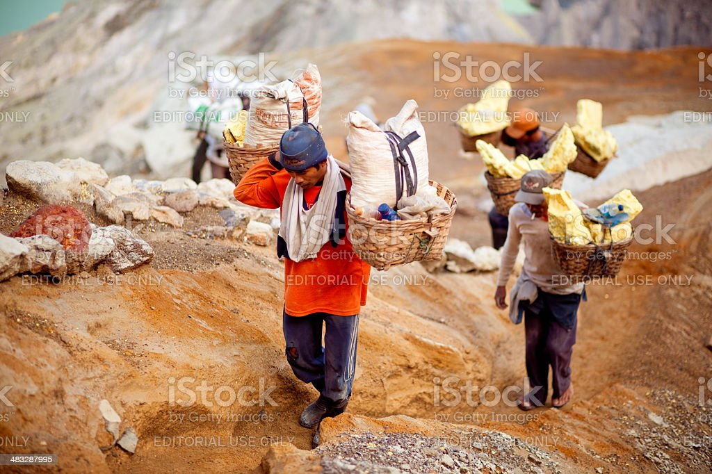 Indonesian workers in the crater of Ijen volcano royalty-free stock photo
