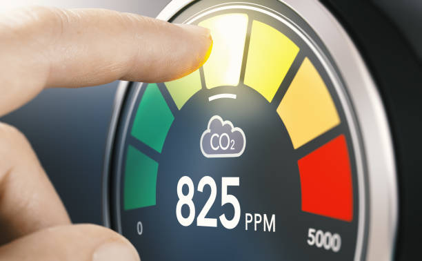 Indoor air quality measurement. CO2 monitor. stock photo