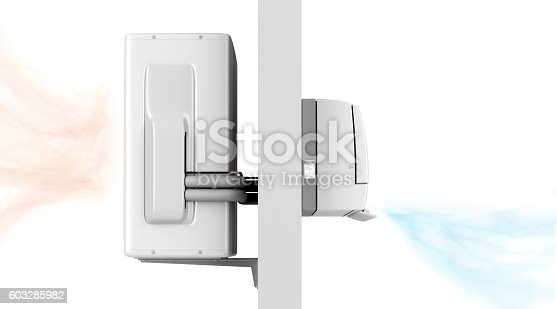 istock Indoor and outdoor units of air conditioner 603285982