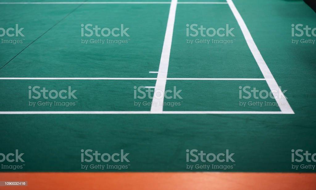 Cтоковое фото Indoor badminton court, selective focus