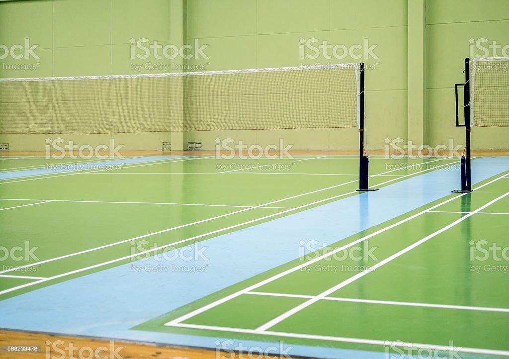 Indoor badminton court, selective focus stock photo