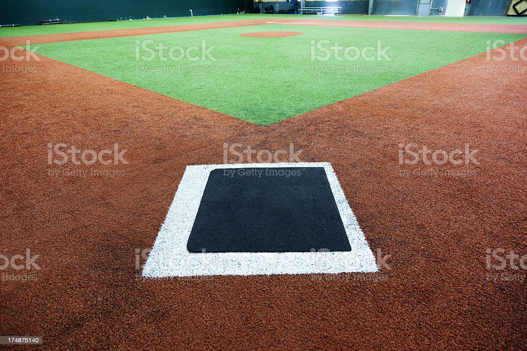 Indoor baseball diamond with a view from the home plate royalty-free stock photo