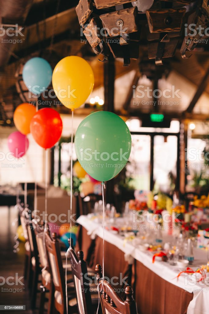Indoor decoration with balloons for a baby birthday party stock photo