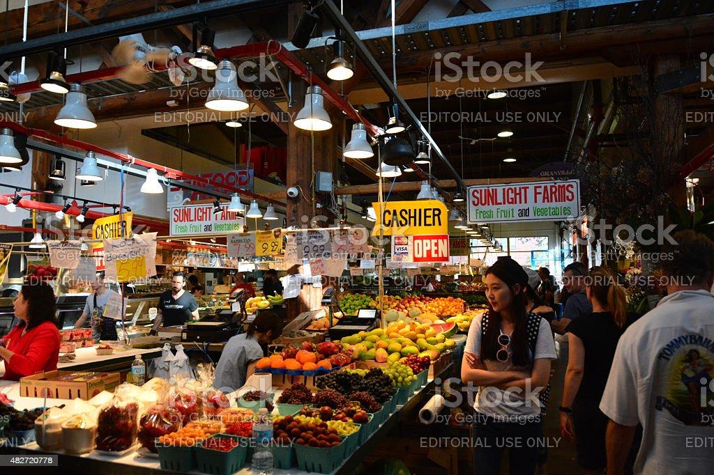 Indoor food market stock photo