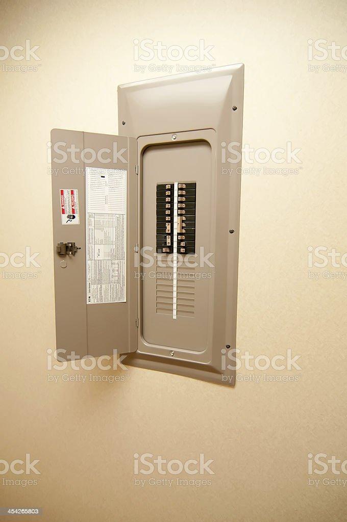 indoor home open electrical breaker panel stock photo