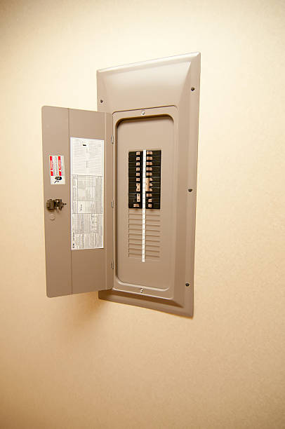 indoor home open electrical breaker panel - fuse box stock photos and pictures