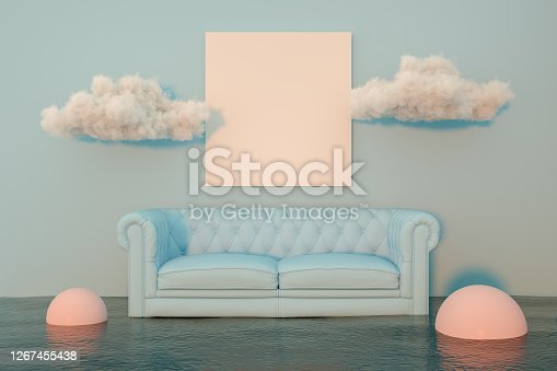 3d rendering of indoor living room, empty frame and sea. Surreal concept. Copy space.