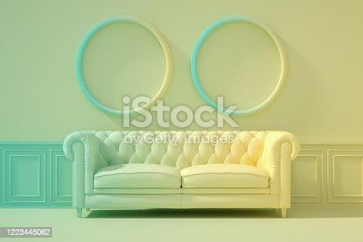 902720222 istock photo 3D Indoor, living room, sofa and empty frame, color gradient, minimal retro design. 1223445062