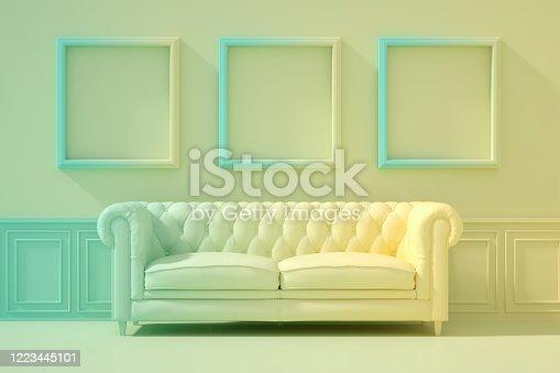 902720222 istock photo 3D Indoor, living room, sofa and empty frame, color gradient, minimal retro design. 1223445101