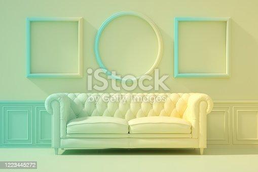 902720222 istock photo 3D Indoor, living room, sofa and empty frame, color gradient, minimal retro design. 1223445272