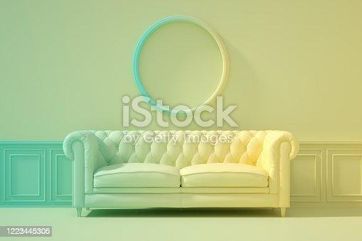 902720222 istock photo 3D Indoor, living room, sofa and empty frame, color gradient, minimal retro design. 1223445305