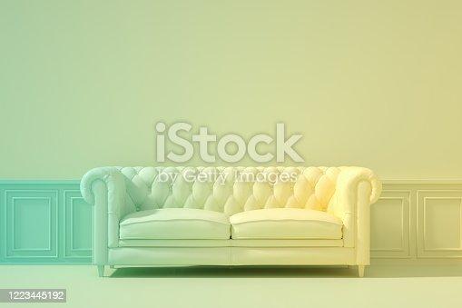 902720222 istock photo 3D Indoor, living room, sofa and empty wall, color gradient, minimal retro design. 1223445192