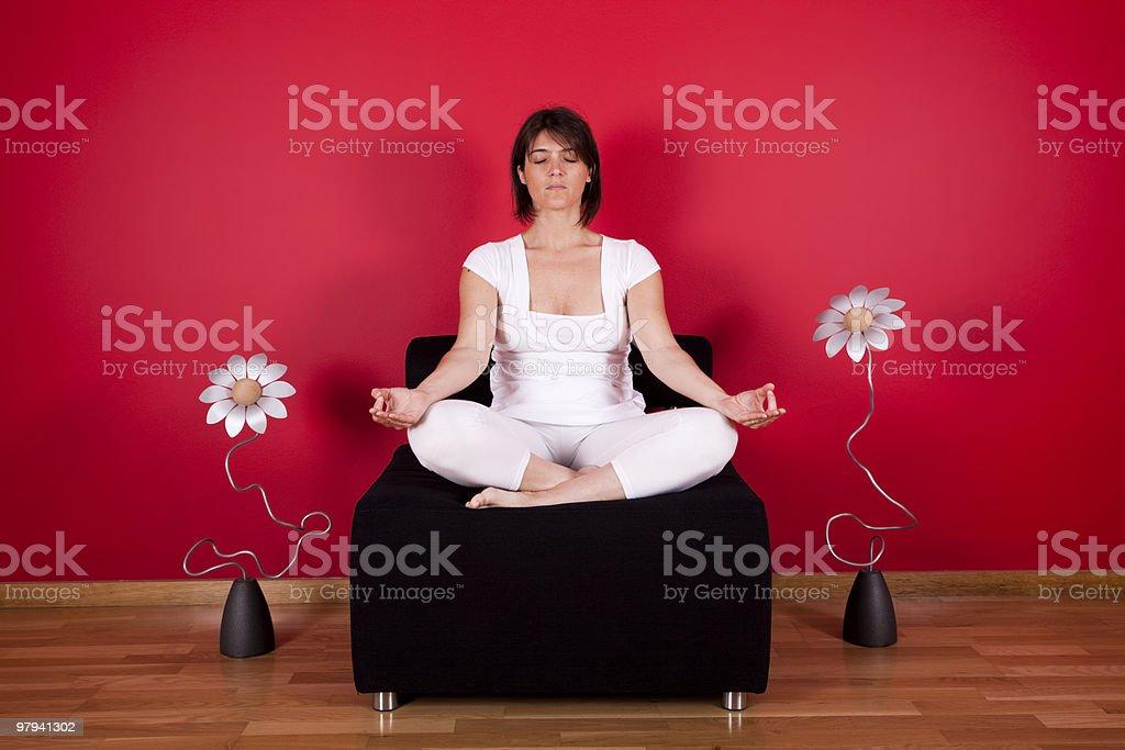 Indoor meditation royalty-free stock photo