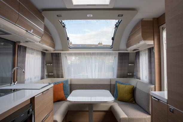 indoor of new expensive caravan indoor of new expensive caravan with big roof window rv interior stock pictures, royalty-free photos & images