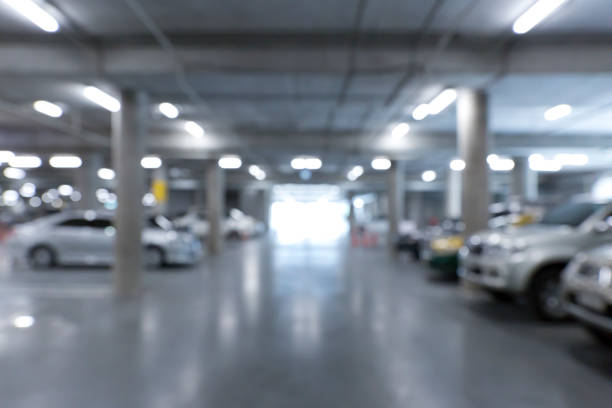 indoor parking stock photo