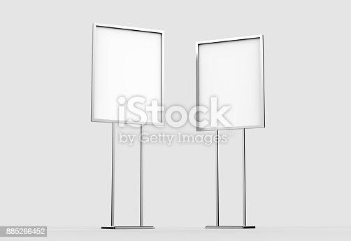 838254520 istock photo Indoor Pedestal Steel Sign Stand poster banner advertisement Display, Lobby Menu Board. Blank white 3d rendering. 885266452